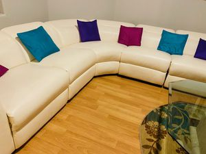 White Leather Sectional Couch for Sale in Pleasanton, CA