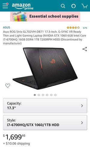 Asus Gaming Laptop GL702VM-DB71 17.3-Inch Gtx 1060 i7-6700hq for Sale in Fresno, CA