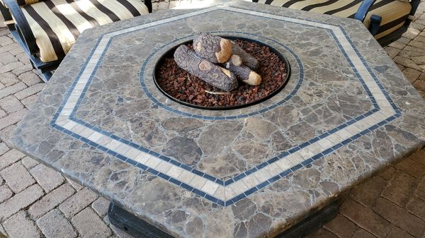 Sunbrela Patio Set With Gas Firepit For Sale In Miramar