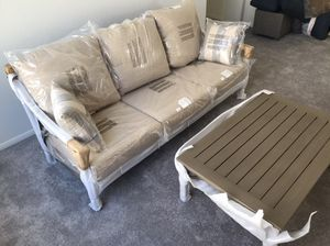 New Baltic Patio Sofa Table with Cushions Outdoor Furniture Set for Sale in Las Vegas, NV