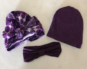 Grace Eleyae Silk Turban and Satin Lined Slap Cap Set for Sale in Fontana, CA