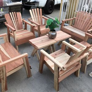 New Redwood Patio Furniture Complete Set No cushions 8 Pc $299 Firm for Sale in Norco, CA