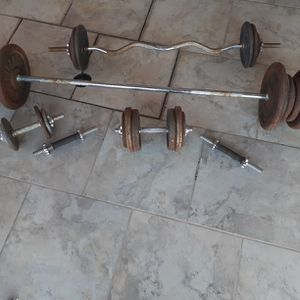 Weights ,Curlbar And Straight Bar for Sale in Tucson, AZ