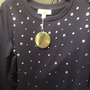 Brand New Never Worn w/Gift Tag MK Michael Kors Navy Sweatshirt Studded Size Large for Sale in Hollywood, FL
