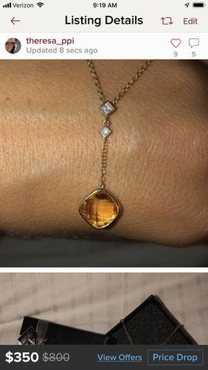NEW 14K YELLOW GOLD CITRINE AND 2 DIAMOND DROP NECKLACE 14K Yellow Gold Citrine and Diamond Drop Necklace ⭐️ 16 inch chain not including drop ⭐️hand for Sale in San Diego, CA