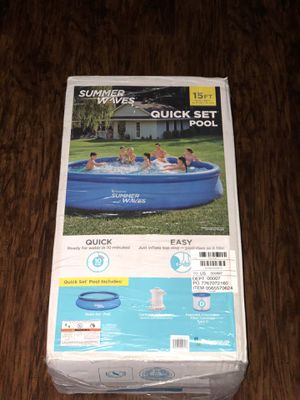 Summer Waves 15ft x 36in QuickSet Inflatable Above Ground Swimming Pool with Filter Pump for Sale in Lewisville, TX
