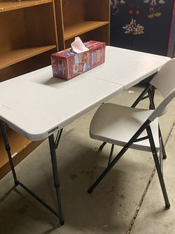 $80-(firm on price)-Lifetime Height Adjustable Craft, Camping and Utility Folding Table, 4 ft X 2' /48 x 24, White (height is adjustable)- used for ex for Sale in Yakima,  WA