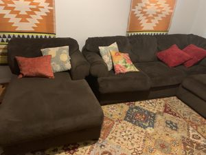 Brown microfiber u shaped sectional couch for Sale in Chesterfield, VA
