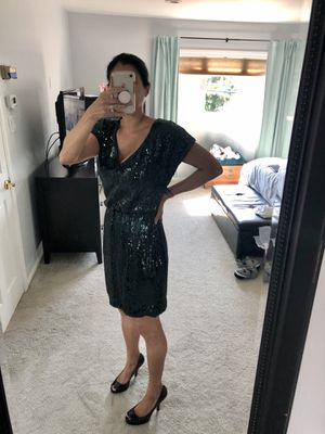 Trina Turk Black V-Neck Sequined Cocktail Dress, Size 4 for Sale in Woodbury, NY