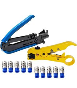Elibbren Coaxial Compression Tool,Coax Cable Crimper Kit Adjustable RG6 RG59 RG11 75-5 75-7 Coaxial Cable Stripper with 7 PCS F Compression Connector for Sale in Chicago,  IL