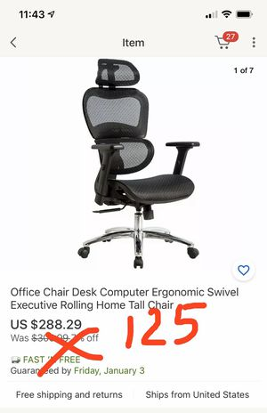 Original $288. Black Mesh High Back Executive Office Chair with Neck Support#601 for Sale in El Monte, CA
