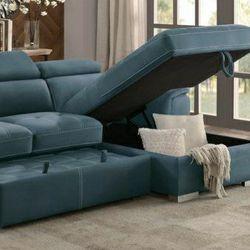 🔹Ferriday Blue Storage Sleeper Sectional for Sale in Philadelphia,  PA