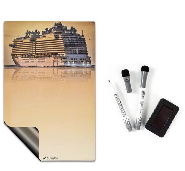 Magnetic Dry Erase Board Kit Tropical Cruise 2 Markers & Eraser. Refrigerator, Desk, Decoration on Metal Cruise Cabin Door, Accessory for Organizers