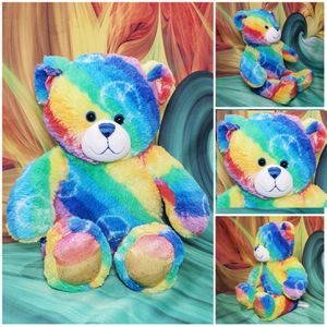"Build-a-Bear Rainbow Peace Teddy Blue Eyed Tie Dyed Plush Stuffed BABW Toy 16"" for Sale in Hallettsville, TX"