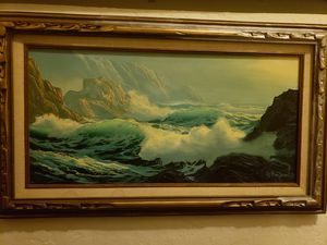 Framed Oceanscape Oil Painting on Canvas for Sale in Seattle, WA