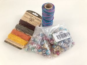 100% Hemp Cord Spools Color Large Hole Pearlized Glass European Beads for Sale in Tustin, CA