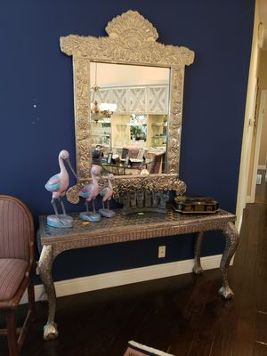 Silver Console Table and Mirror for Sale in Boynton Beach, FL