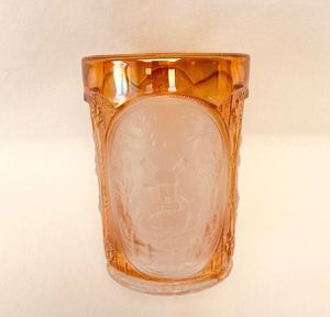 Set of 10 Vintage Imperial carnival glass marigold frosted oval windmill tumblers for Sale in Valrico, FL