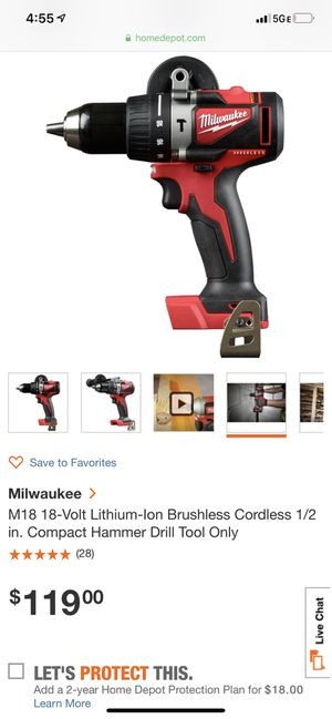 Sweet Powerful M18 Fuel Brushless Hammer Drill Tool Only!! for Sale in Indianapolis, IN