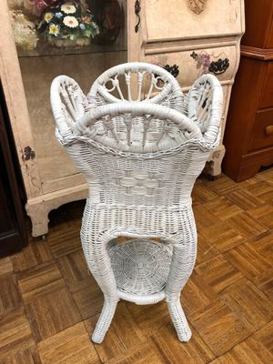 Vintage white wicker bohemian plant stand plant holder $50 for Sale in San Diego, CA