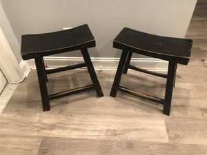 Solid wood, distressed black finish table height stools. for Sale in Silver Spring, MD
