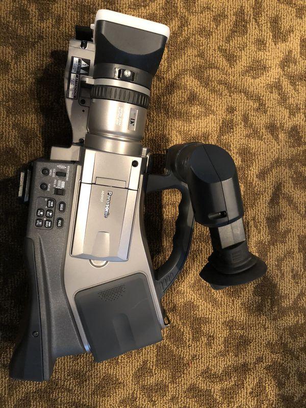 Panasonic camera, audio mike, lighting, carry bags