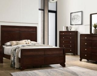 🌟🌟 SAVE UP 70 % OFF BEDROOM SET: QUEEN BED + NIGHTSTAND+ DRESSER+ MIRROR (**Mattress and Chest not included**) for Sale in Baldwin Park,  CA