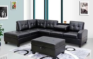 CONTEMPORARY BLACK LEATHER SOFA SECTIONAL WITH STORAGE OTTOMAN for Sale in North Miami Beach, FL