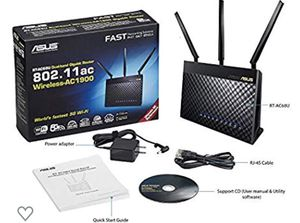 Asus AC1900 Dual Band Gigabit WiFi Router with MU-Mimo, Aimesh for Mesh WIFI System, Aiprotection Network Security Powered by Trend Micro, Adaptive Q for Sale in Rancho Cucamonga, CA