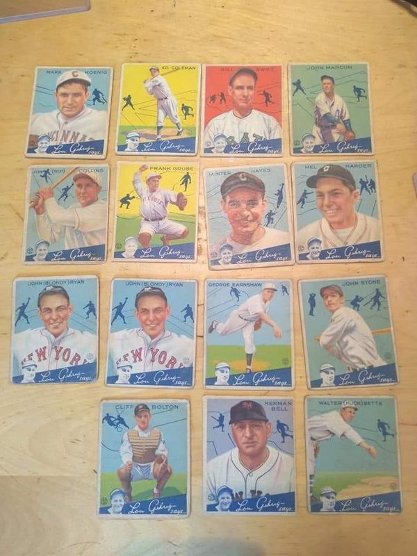"""Collection of 15 Vintage 1934 Goudey """"Lou Gehrig says"""" baseball cards."""