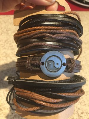 Charm Leather Bracelet Men Vintage Handmade Braided Multilayer Rope Wrap $10 for Sale in Avondale, AZ