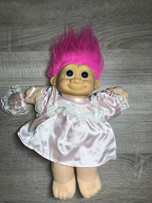"RUSS VINTAGE PLUSH 12"" TROLL IN PINK DRESS WITH PURSE #2325 for Sale in San Bernardino, CA"