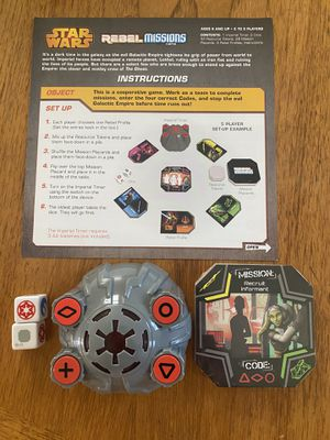 Star Wars Rebel Missions Board Game (Missing tokens & profiles) for Sale in Phoenix, AZ