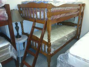Real wood bunk bed comes in brown cherry and white for Sale in Dearborn, MI