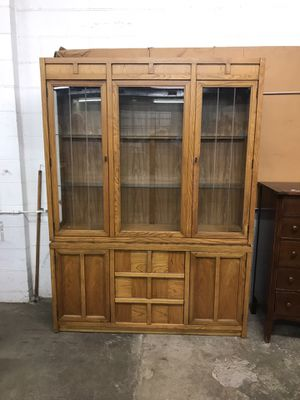 Vintage Solid Wood China Cabinet Hutch for Sale in Westerville, OH