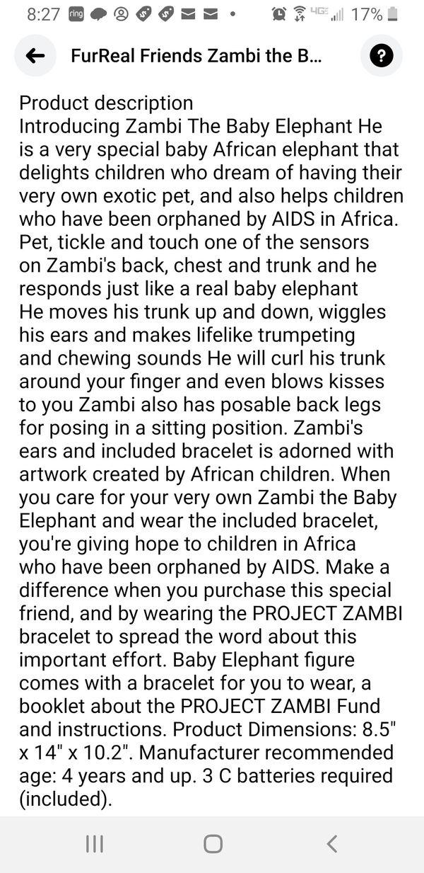 Elephant FurReal Friends zambi the baby