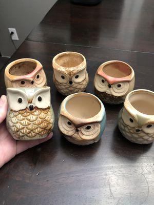 Ceramic mini Owl pots for Sale in Beaverton, OR