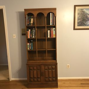Solid wood 2 piece book case with storage cabinet for Sale in Fort Washington, MD