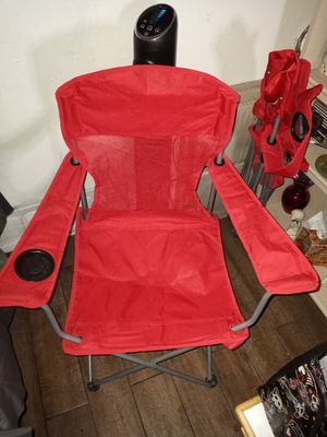 Red Tailgate folding chairs with cup holders for Sale in Bakersfield, CA