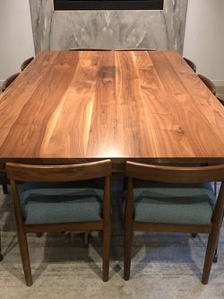 Beautiful mid-century custom-made solid wood dining table and 10 chairs for Sale in Dallas,  TX