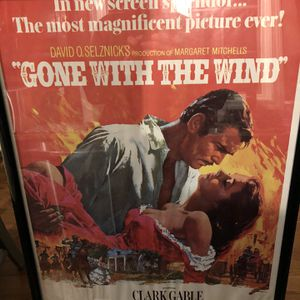 Vintage Gone With The Wind Poster In Frame for Sale in Farmington, CT