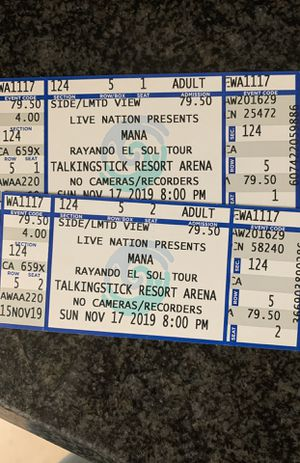 Mana tickets $160 for both for Sale in Goodyear, AZ