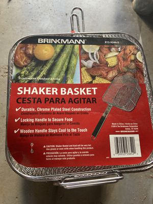 Grill BBQ Shaker Basket Brinkmann Wood Handle Chrome Plated Steel for Sale in Quincy, MA