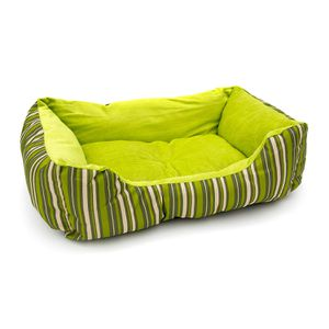 ALEKO PB06STGR Plush Pet Cushion Crate Bed for Dogs Cats Medium Machine Washable Indoor Outdoor 20 x 16 x 6 Inches Green Striped for Sale in Kent, WA