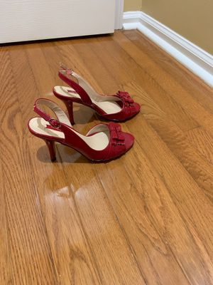 LIKE NEW NINE WEST RED SLING BACK HEELS SIZE 6M WORN ONCE!! for Sale in Philadelphia, PA