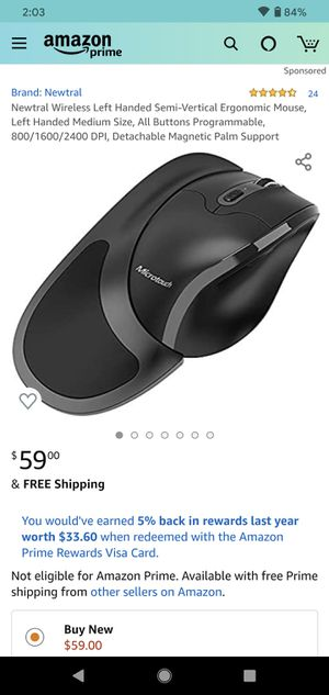 Micro touch left handed ergonomic mouse for Sale in South Gate, CA