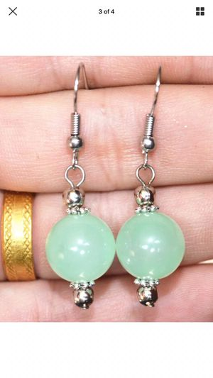Sterling silver plated 12mm jade earrings dangles jewelry for Sale in Silver Spring, MD