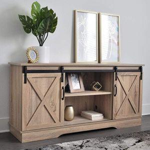 Dark Walnut Living Room TV Stand Sliding Barn Door Design up to 65 inch TV for Sale in Corona, CA