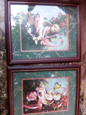 2 angel pictures and mirror for Sale in Tulsa, OK