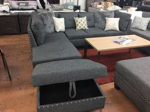NO MONEY DOWN? TAKE IT HOME TODAY! Grey sectional sofa $699/Ottoman w/Storage $85 for Sale in Bartow, FL